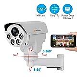 Poe Security IP Camera, Jennov HD 5MP (2592X1944) IP PTZ Security Camera H264+