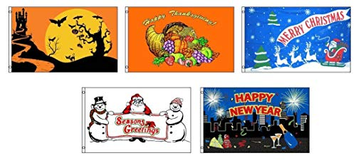 ALBATROS 3 ft x 5 ft Seasonal Holiday 5 Flag Bundle Set Halloween Tday Xmas NYE for Home and Parades, Official Party, All Weather Indoors Outdoors]()