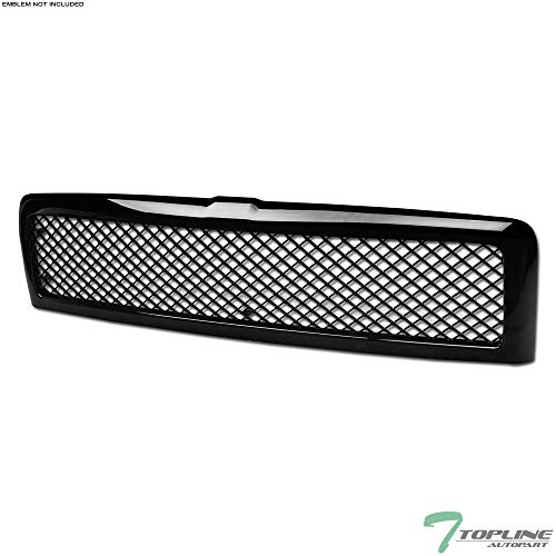 Topline Autopart Glossy Black Mesh Front Hood Bumper Grill Grille Cover Conversion For 94-01 Dodge Ram 1500 ; 94-02 2500 / 3500 ()