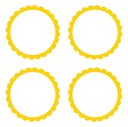 amscan Lovely Scalloped Party Labels Decoration, Yellow Sunshine