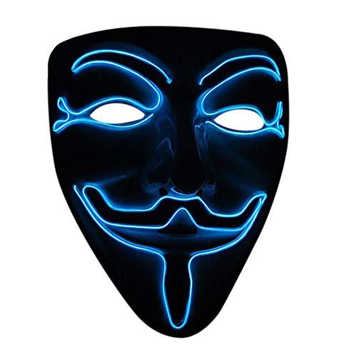 Nuoka Halloween Cosplay Masquerades LED Mask V for Vendetta Mask (Blue) for $<!--$8.99-->