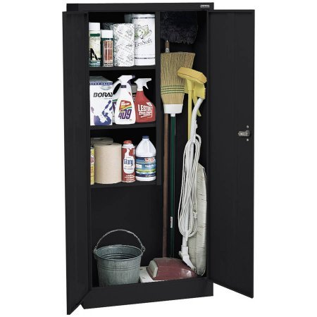 """Value Line Series 30""""W x 66""""H x 15""""D Janitor Supply Cabinet, Black"""
