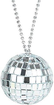 Disco Ball Necklace Slv Metallic Look Plastic Disco Balls 70/'s Novelty Jewery