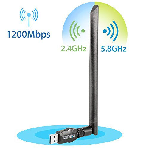 EEEKit USB 1200Mbps Wi-Fi Adapters/Dongles Dual Band 5dBi Removable Antenna 5.8GHz/802.11ac Super Speed USB 3.0 Transmission Support All WLAN routers: WPA/WPA2/WEP from EEEKit