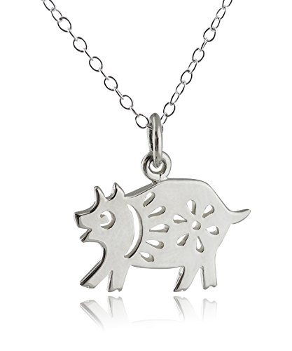 (FashionJunkie4Life Sterling Silver Chinese Zodiac Year of the Pig Charm Necklace, 18