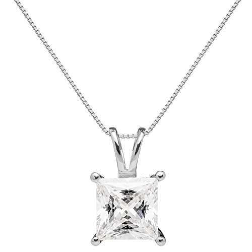 14K Solid White Gold Pendant Necklace | Princess Cut Cubic Zirconia Solitaire | 2 Carat | 16 Inch .60mm Box Link Chain | With Gift Box
