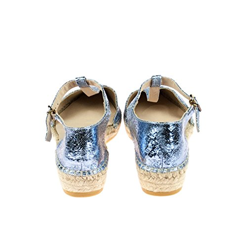 ras Damen Sandale Leder Blau Silber