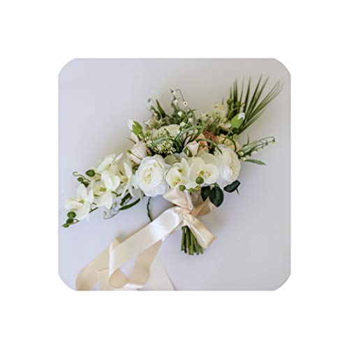 Of Lily Bouquet The Valley (Rose Bridal Bouquet Lily of The Valley Flower Waterfall Bouquet Wedding Holding Flowers European Style)