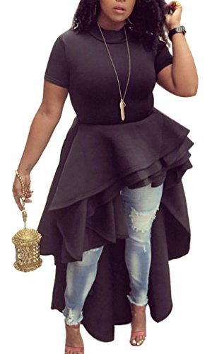 Ehcojdeb Women Ruffle High Low Asymmetrical Irregular Short Sleeve Tops Shirts Blouse Dress Black XXL (Shirt Ruffle Top Blouse)