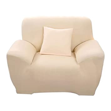 Hotniu Funda de sofá elástica, Cubre de sofá o sillón Universal, Protector Pare Sofa Muebles de 1 Plaza, Beige