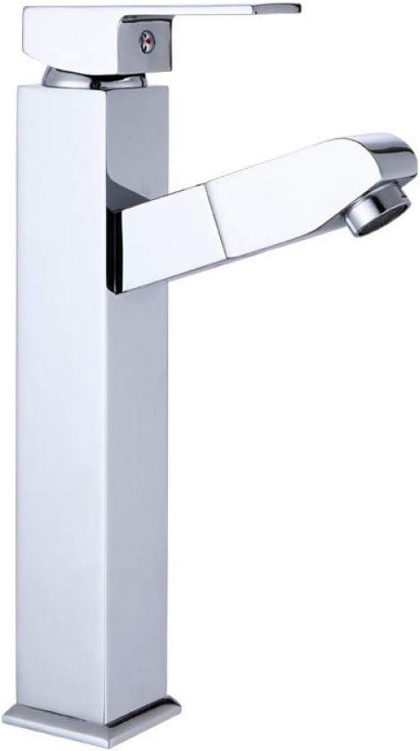 Grifo del grifo Grifo del lavabo del baño Grifo de agua de cobre Extractor de agua caliente y fría Mezclador de agua Manija del lavabo cuadrado Grifo montado en la plataforma