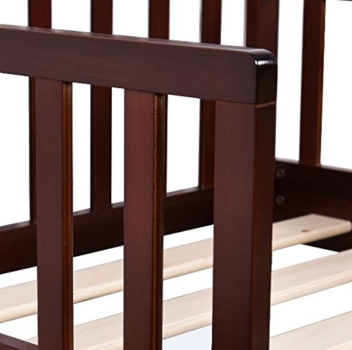 Wood Toddler Kids Baby Bed Safety Rails Espresso Bedroom Furniture + eBook by eXXtra Store (Image #5)