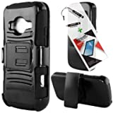 T-Mobile ZTE Concord II Case ZTE Z730 3 in 1 Bundle Silicon Hybrid Armor hard Snap on Cover Case with Viewing Stand - Black (Free Ultra-Sensitive Stylus Pen and Premium Screen Protector by BeautyCentral TM)
