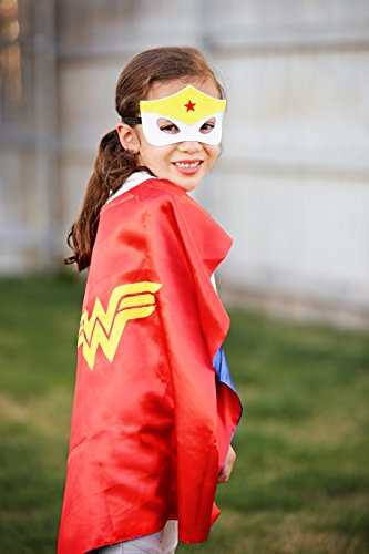 Wonder Woman Super Hero Cape & Mask - Red, White and Yellow Super Hero Cape, Super Hero Mask & Cape, Wonder (Wonder Woman Costumes Little Girl)