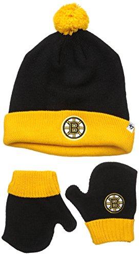NHL Boston Bruins Toddler Bam Bam Knit Hat & Mittens Set, One Size, Black