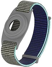 Geiomoo Siliconen Hoesje Nylon Bandje Compatibel met Air Tag, Tracker Hoes Polsbandje voor Kid (Khaki)