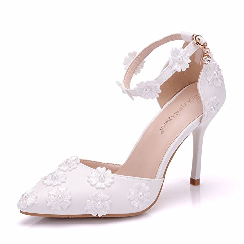 LEIT Women's Shoes Sandals mid Heel Pointed Fine with one Word Buckle High Heels White Z0nMjPhUD
