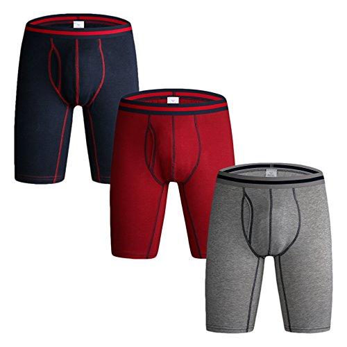 Nuofengkudu Men's Long Leg Boxer Briefs Cotton Soft Flex Underwear (Red/Grey/Blue,XL) 3 Pack