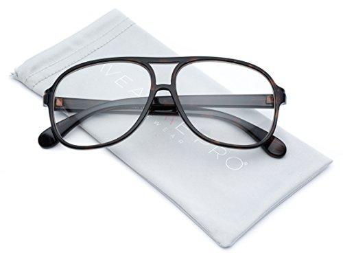 WearMe Pro - Clear Large Aviator Nerd Non Prescription - Nerd Glasses Prescription