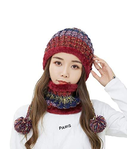 mujer de Beanie para Acvip rojo bufanda y punto Pp6BnwYqa