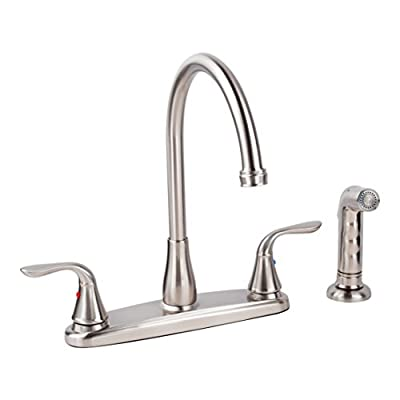 High Arch Kitchen Faucet Laundry Tub Utility Sink by MAYA - Thermoplastic Wash Basin Tubs, Metal Legs With Adjustable Levelers, Lead Free Metal Faucets With Side Sprayer, Full Installation Kit