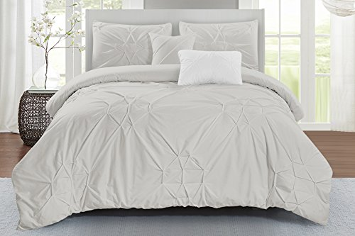 (Wonder Home 5 Piece Starburst Comforter Set, Queen, Grey)