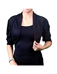 Red Dot Boutique 8801 - Plus Size 1/2 Sleeves Soft Crop Shrug Bolero Top Jacket Black