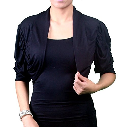 8801 - Plus Size 1/2 Sleeves Soft Crop Shrug Bolero Top Jacket Black (3X)