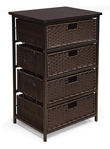 August Collection Tall Four Basket Drawer Storage Unit (With Wicker Chest Drawers)