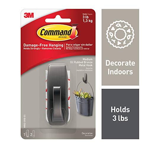 Command 3 lb Capacity Metal Hook, Indoor Use, Medium, Decorate Damage-Free, Bronze, 1 hook, 2 strips (MR02-ORB-ES)