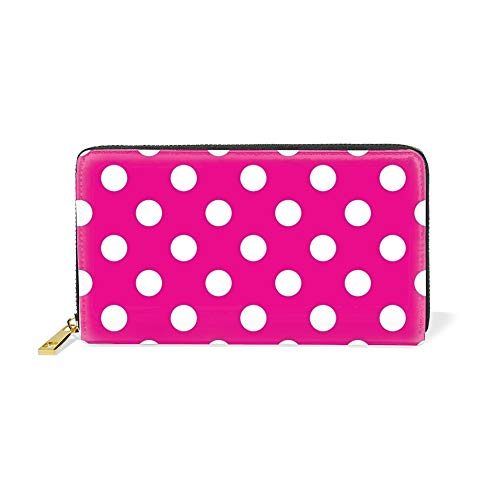 - Hot Pink Polka Dot Leather Women Clutch Bag Long Wallet Purse