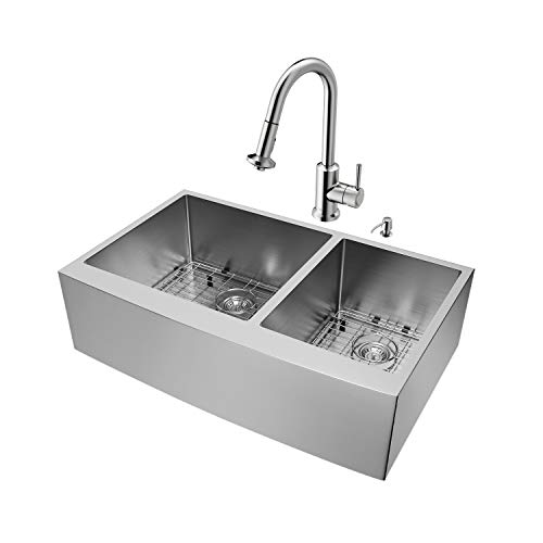 VIGO 36 inch Farmhouse Apron 60/40 Double Bowl 16 Gauge Stainless Steel Kitchen Sink with Astor Stainless Steel Faucet, Two Grids, Two Strainers and Soap Dispenser