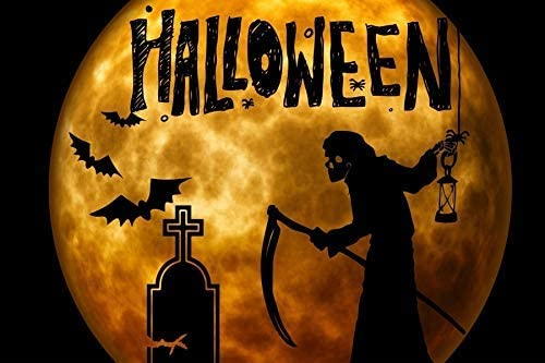 Cartoon Halloween Decor Backdrop 10x6.5ft Masked Ball Polyester Photography Background Shining Full Moon Black Bat Spider Ghost Death Skull Sickle Gravestone Cross Scary Party Studio Photo Prop