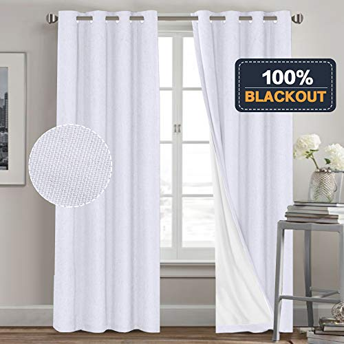 Functional 100% Blackout Curtain with Liner for Living Room Waterproof Primitive Linen Look Curtains 2 Panels Room Darkening Curtains for Bedroom (52 x 84, White + White Liner) (Darkening Liner Curtain Room)