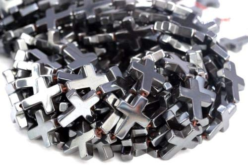 17x14mm Black Hematite Cross Grade Natural Gemstone Loose Beads 7.5'' Crafting Key Chain Bracelet Necklace Jewelry Accessories Pendants