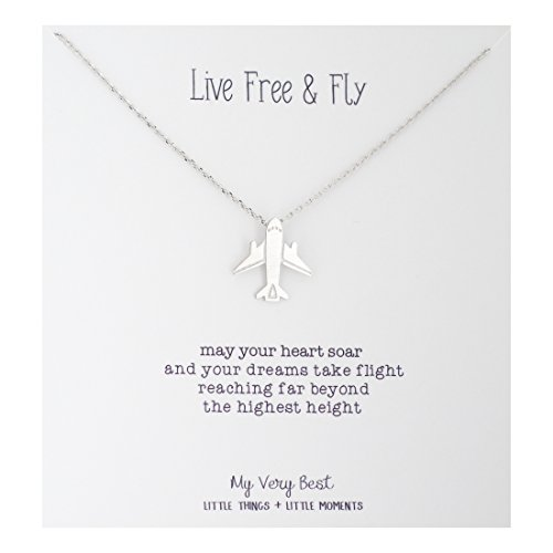 My Very Best Live Free and Fly Airplane Necklace (Silver Plated ()