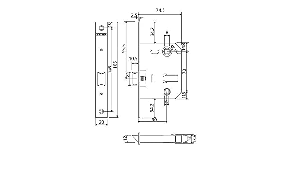 Cerradura de doble cerrojo para alto tr/áfico Acero Esmaltado Frente Redondeado Tesa Assa Abloy 134U