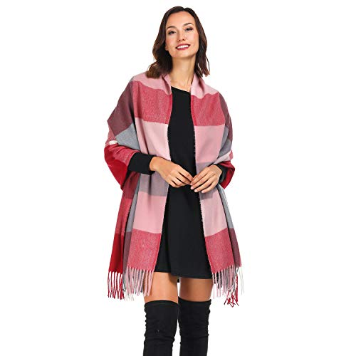 Coloris Edition Plaid Blanket Cashmere Scarfs for Women Winter Warm Wrap Oversized Soft Long Shawl (Plaid Bordeaux Pink)
