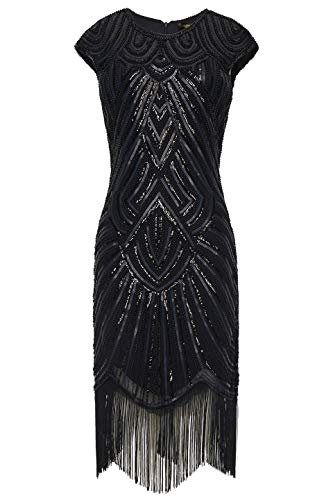 BABEYOND 1920s Flapper Dresses 20s Great Gatsby Dress 1920s Beaded Embellished Fringed Dress, Medium, Black]()