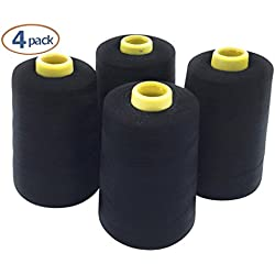 Pack Of 4 6000 Yard Black Sewing Thread Cones For Machine – 100% Spun Polyester All Purpose Sewing Threads For Embroidery, Upholstery, Canvas, Drapery & Quilting