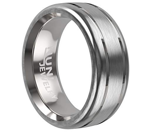 Nuni Jewelry 8mm Tungsten Ring Brushed Center Grooved Strips Wedding Band Comfort Fit (11)