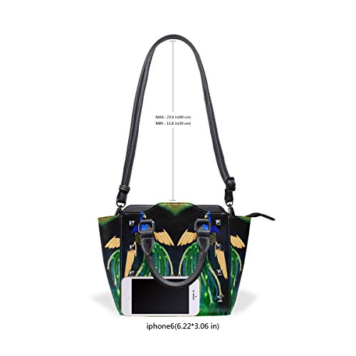 Tote Shoulder TIZORAX Bags Double Leather Women's Custom Handbags Peacock A1AwXO