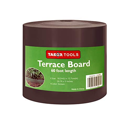 TABOR TOOLS Terrace Board, Landscape Edging Coil, 1/25 Inch Thick, 5 Inch High. ES25.(60 Feet, Brown)