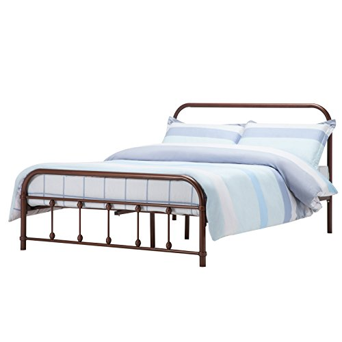 Mecor Bronze Antique Metal Bed Frame Full Size Platform, with Headboard Footboard,Steel Frame with Wooden Mattress Foundation Slats,Full/Espresso