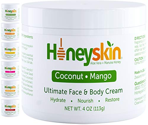 Face and Body Moisturizer Cream - Natural Facial Skin Care For Rosacea Eczema Psoriasis Rashes Itchiness Redness - With Natural Aloe and Manuka Honey - Natural Coconut Mango Scent (4oz) 1