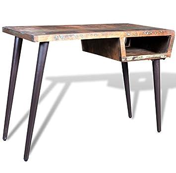 vintage office desk. Vintage Office Desk Retro Industrial Style Writing Table Solid Reclaimed Wood PC Workstation Meal Leg Furniture