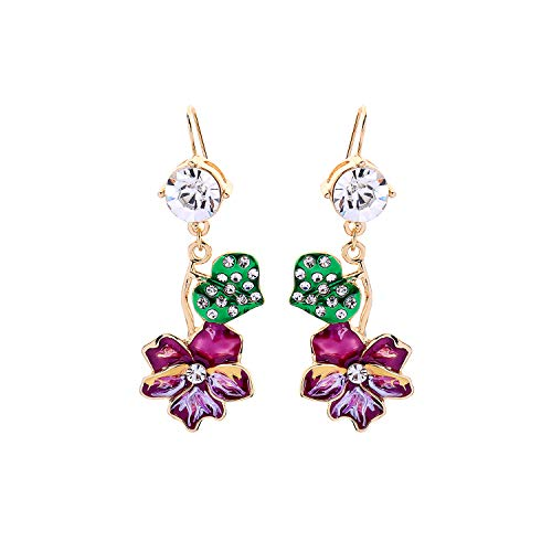 Feximzl Unique Colorful Enamel Flower Crystal Leaves Drop Earrings For Women Gifts Dangle Earrings Fashion Accessories ()