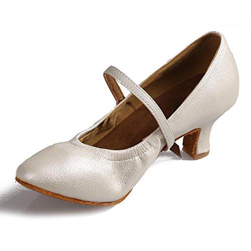 YFF Ballroom tango latin dance shoes girls women's latin dance shoes 5cm and 7cm heel White 5CM