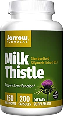 Jarrow Formulas Milk Thistle Standardized Silymarin Extract 30:1 Ratio Veggie Caps, Supports Liver Function, 150 mg, 200 Capsules by Jarrow Formulas