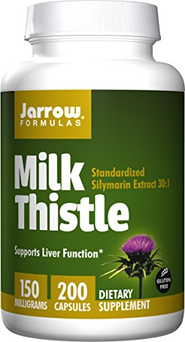 Jarrow Formulas Milk Thistle Standardized Silymarin Extract 30:1 Ratio Veggie Caps, Supports Liver Function, 150 mg, 200 - 30 Caps Seed Extract Standardized